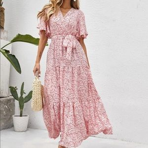 Boho floral belted ruffle butterfly sleeve dress